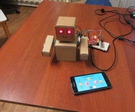 Arduino Cardboard Robot Is Controlled From Smartphone Via Bluetooth