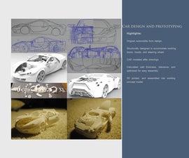3D Printed Car With Movable Door, Hoods, Wheels and Steering Wheel.