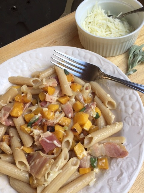 Picture of Gluten Free Rigate With Roasted Butternut Squash and Smoked Bacon