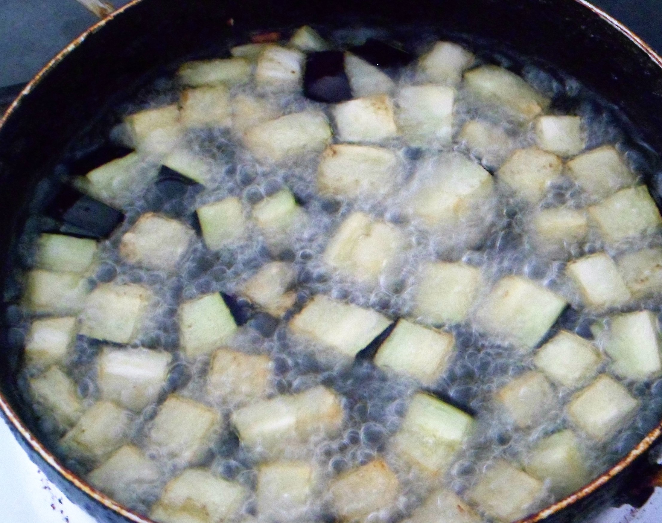 Picture of First Step Is to Fry the Chopped Brinjals