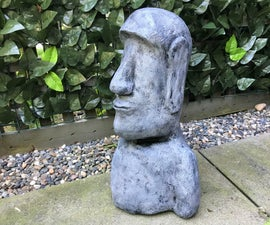 Outdoor Paper Mache Easter Island Head