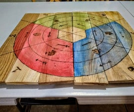 Woodburned Castle Panic Pallet Game Board