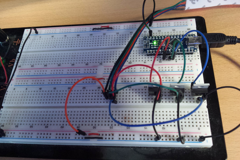 Picture of RGB LED Strip Control Switch on Breadboard