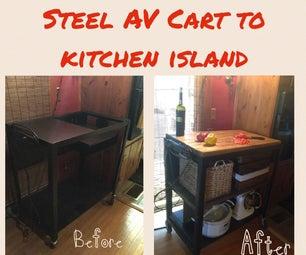 Obsolete Overhead Projector/AV Cart to Kitchen Island Storage