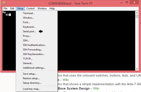 Open the Serial Port Setup