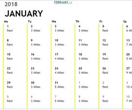 Marathon Training Calendar