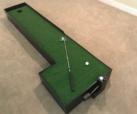 Putting Green W/ Lever-Activated Golf Ball Elevator