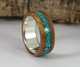 Sterling Silver Ring With Koa Wood and Blue Opal