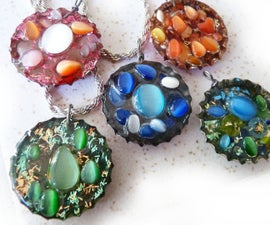 Sparkly Resin Bottle Cap Pendants