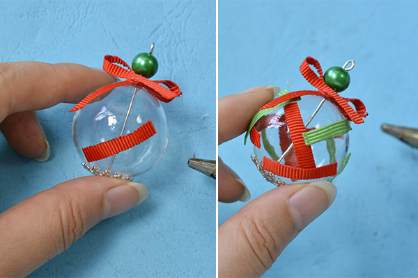 Picture of Stick Red and Green Ribbon to the Surface of the Lampwork