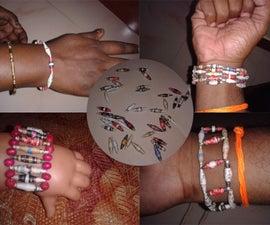 Bi conical paper beads bracelets