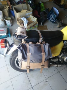 Leather and Waxed Cotton Motorcycle Saddlebag