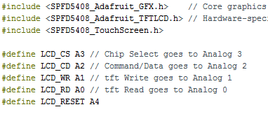 Picture of Header File and Pin Assignment for TFT