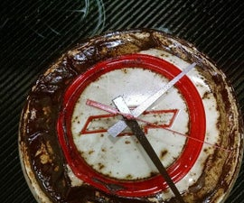 Upcycle hubcaps into clocks