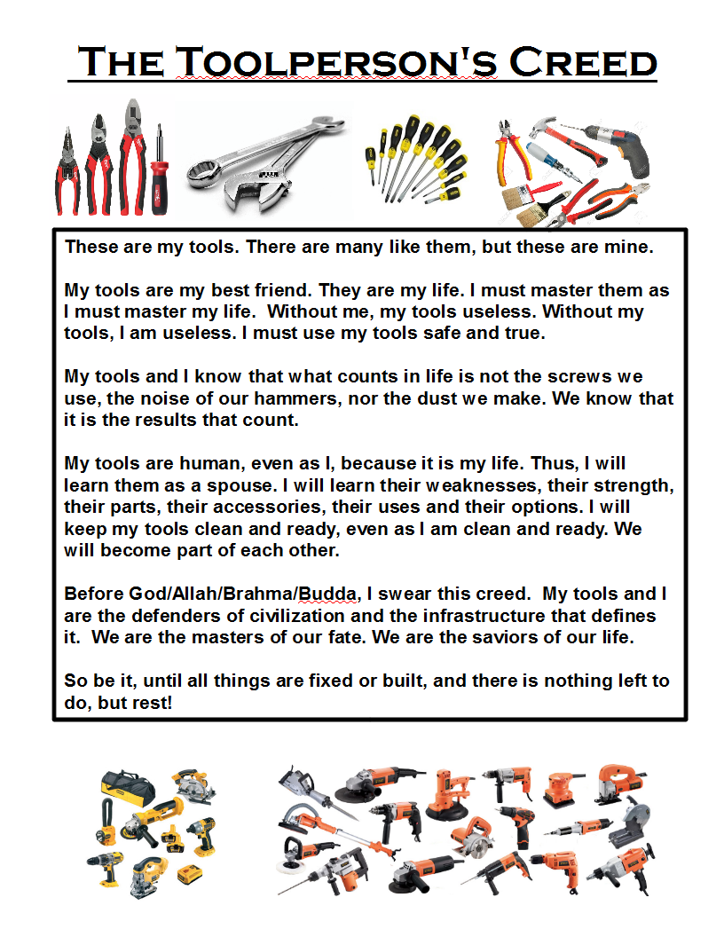 Picture of The Toolperson's Creed - How to Properly Respect Your Tools