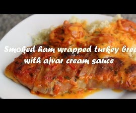 Smoked Ham Wrapped Turkey Breast With Ajvar Cream Sauce Recipe