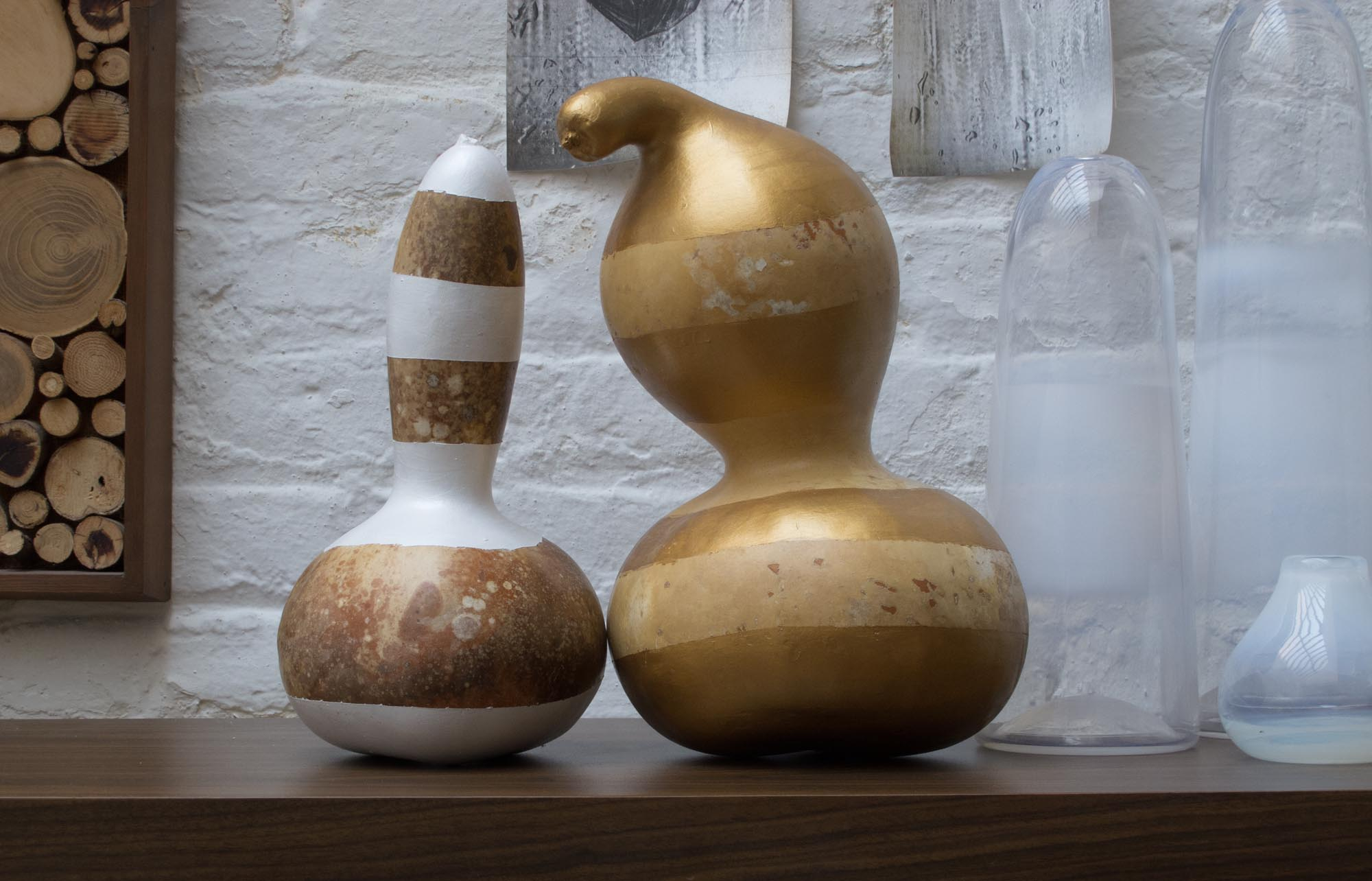 Picture of Gilded Striped Decorative Gourds