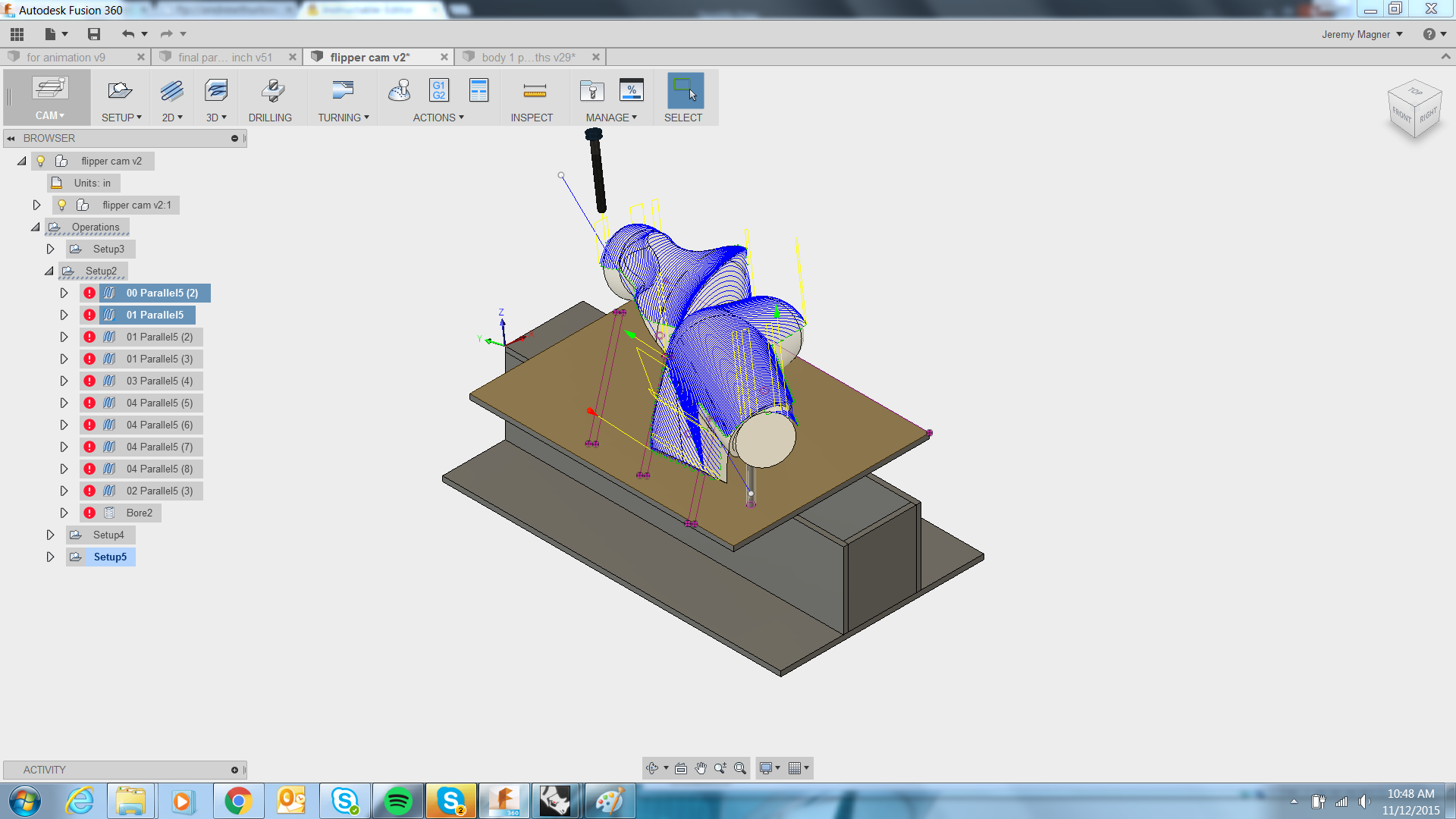Picture of Setup Type 2 Toolpaths and Machining