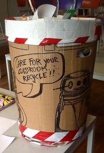 "Cardboard and ""crime Scene""tape Robot Garbage Bin"