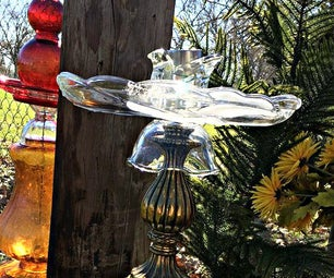 Vintage Lamp and Glass Bird Bath