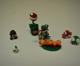 super mario figures made out of polymer clay.