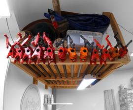 Floating Garage Storage Loft & Clamp Rack