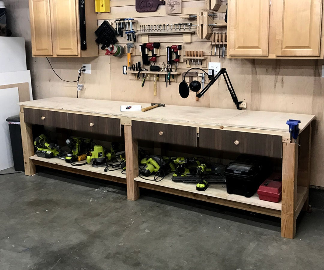 No Frills Workbench 4 Steps With Pictures: $100 10ft Work Bench/Surface With Storage: 11 Steps (with