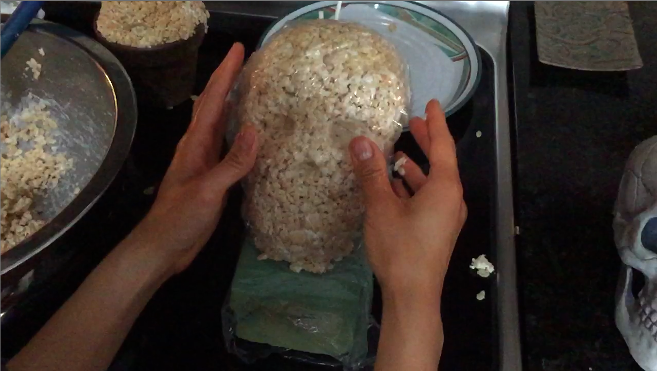 Picture of Wrap the Skull in Plastic Wrap to Help With Sculpting (Add More Rice Krispies As Needed)