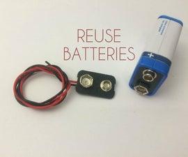 9V battery clip from dead batteries