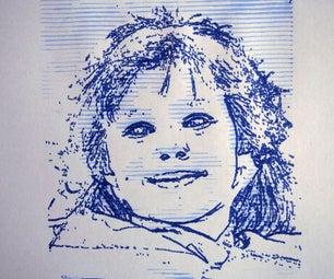 CNC Pen and Wash Portrait