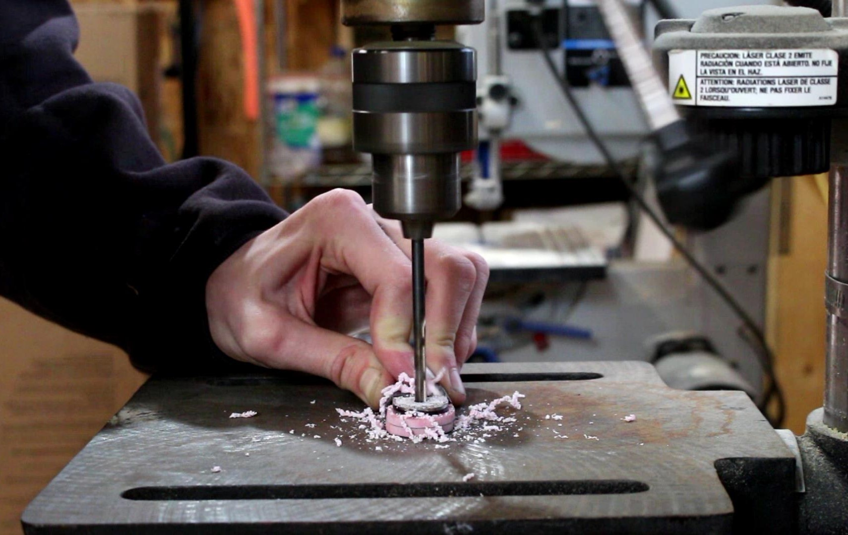 Picture of Drilling Pin Holes in Handle Material