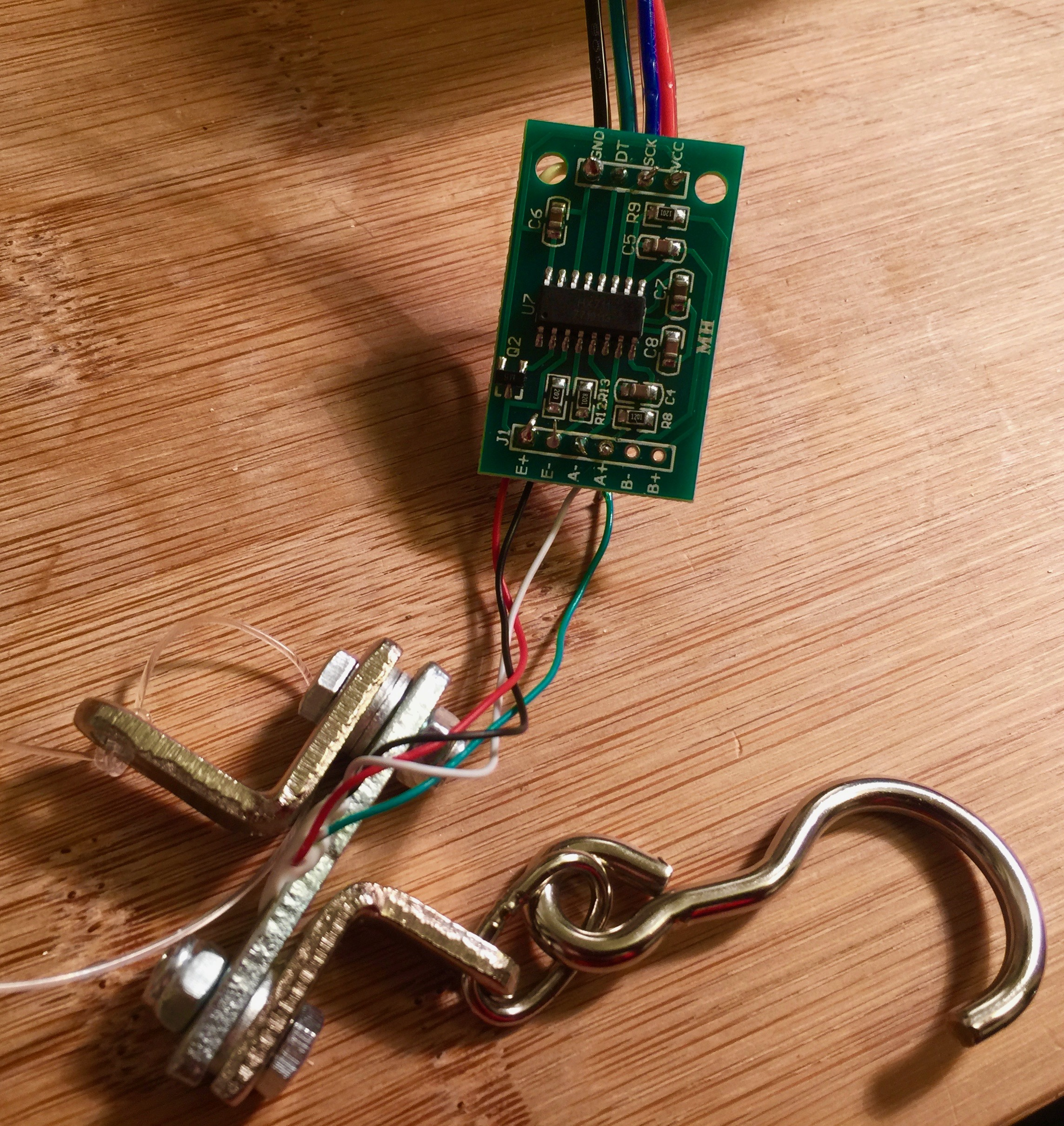 Picture of Connecting Your Hanging Load Cell to the HX711 Module and to the Arduino.