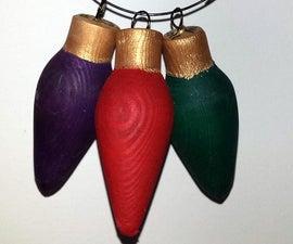 Woodturned Christmas Light Ornament