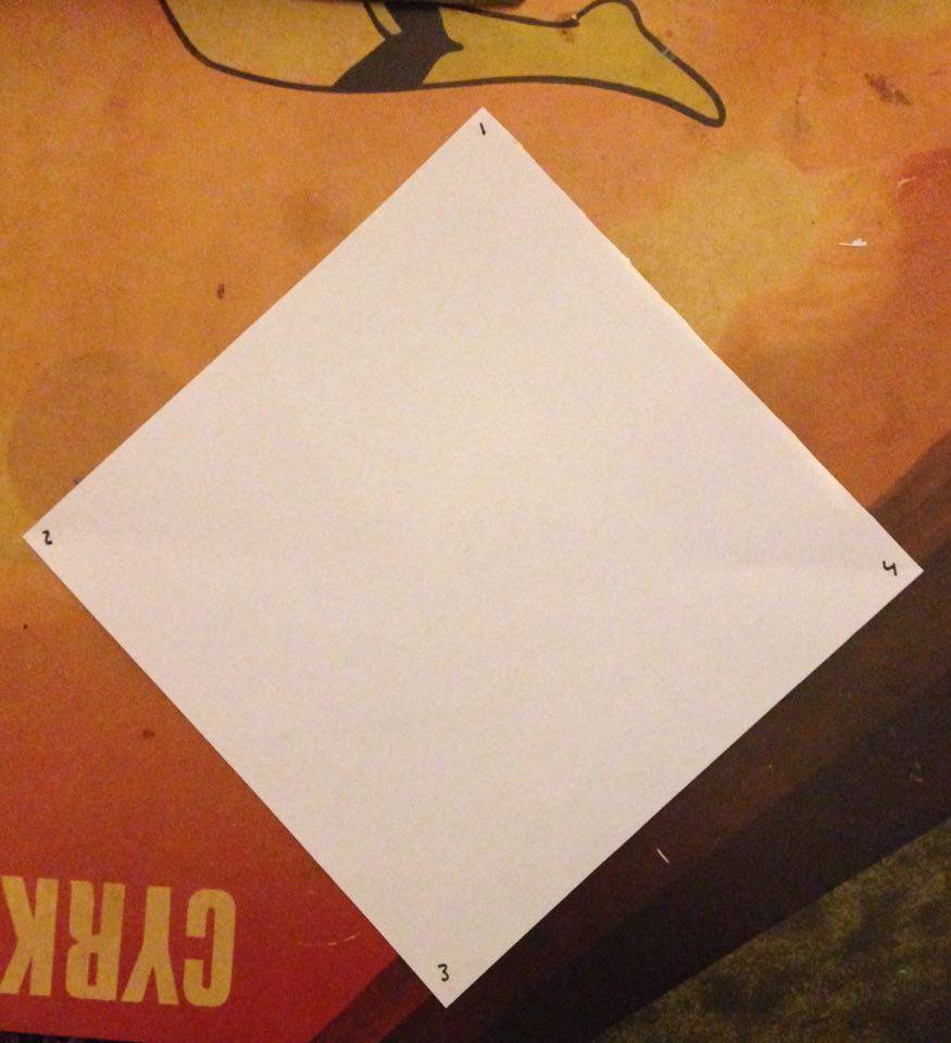 Picture of Obtain a Square Peice of Paper, I Have Labeled the Corners for an Easier Perspective.