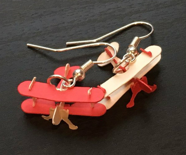 Picture of Biplane 3D Puzzle Earrings
