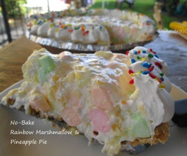 No-Bake Rainbow Marshmallow & Pineapple Pie