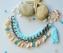 Tutorial of a Chains Necklace With Shell and Wool