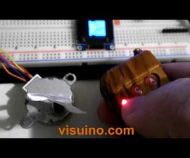 VISUINO Remote Control Module + Stepper Motor + OLED Lcd + Drv8825 Driver