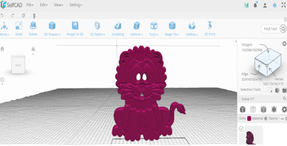 Converting an Image Into 3D Shape in SelfCAD 2.0
