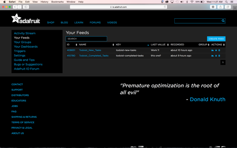 Sign Up and Create Feeds in Adafruit IO