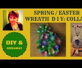 SPRING / SUMMER RAINBOW FLOWER WREATH FROM RECYCLED ITEMS
