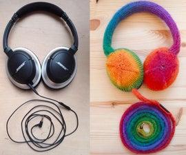Knitted Rainbow Headphones