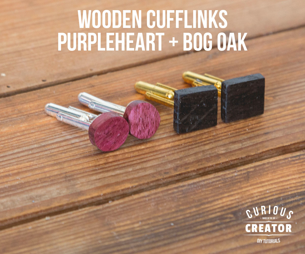 Picture of Wooden Cufflinks With Purpleheart + Bog Oak