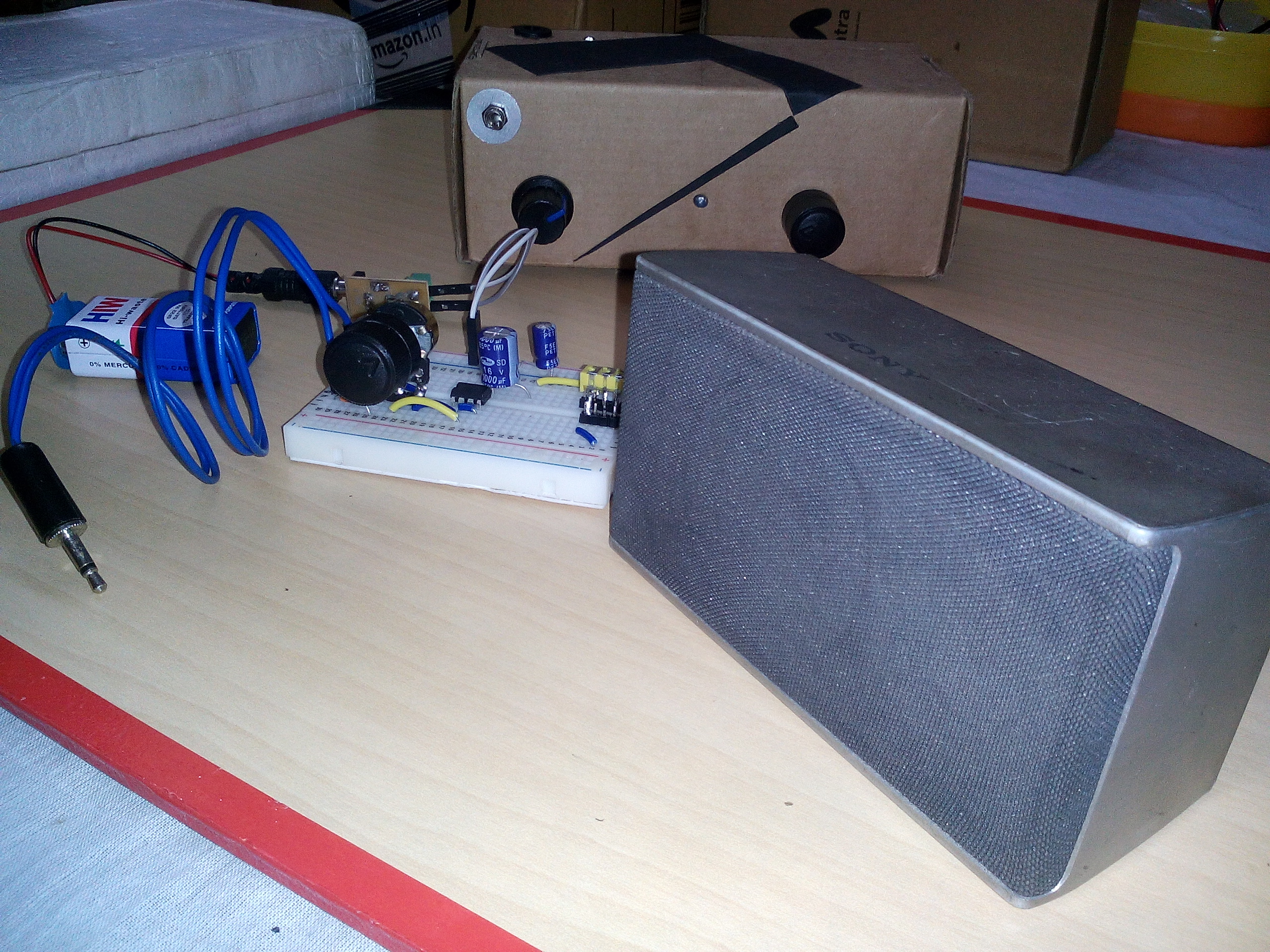 Picture of Simple LM386 Powered Audio Amplifier Breadboard Version