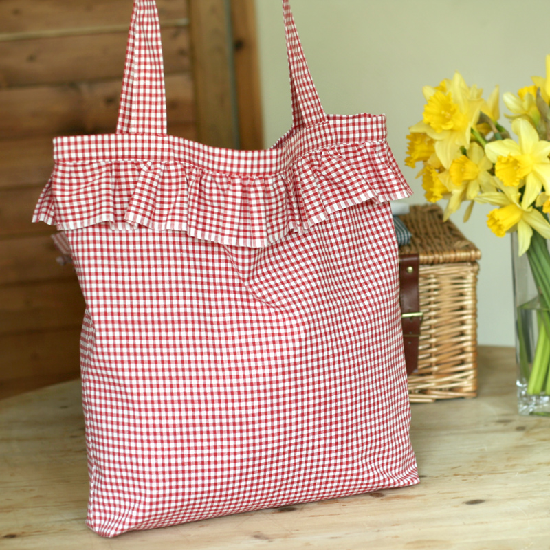 Picture of Gingham and Ruffles - Summer Tote Bag