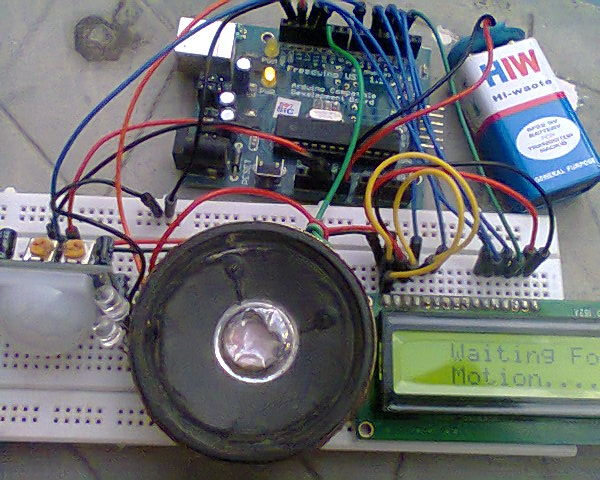 Picture of Home Security Alarm or a Motion Detector Using Arduino,P.I.R Sensor and LCD.