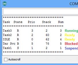 FreeRTOS with Arduino 09 : Read Task Info : vTaskList()