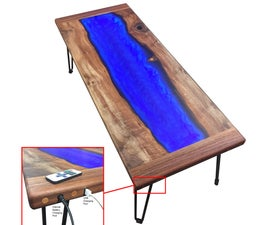 LED Lit Walnut and Resin-River Coffee Table That Charges Your Phone!