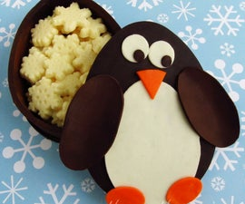 Chocolate Penguin Boxes Filled With White Chocolate Snowflakes