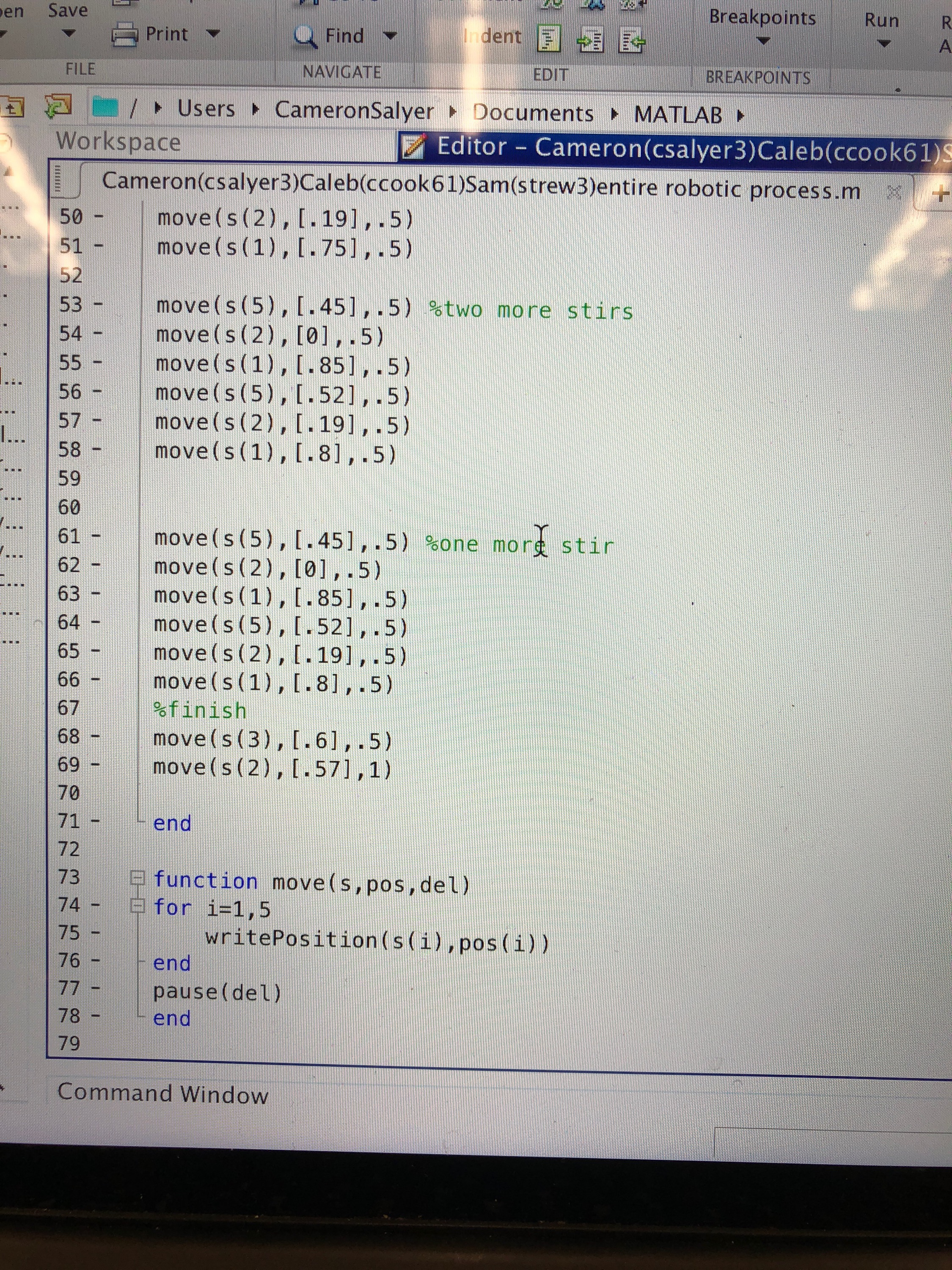 Picture of MATLAB Code